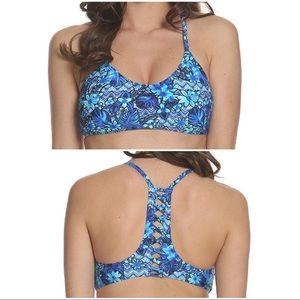 •SUN & SEA• Blue Floral Lattice Back Bikini Top